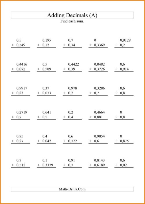 small resolution of 5th Grade Math Worksheets With Decimals   Printable Worksheets and  Activities for Teachers