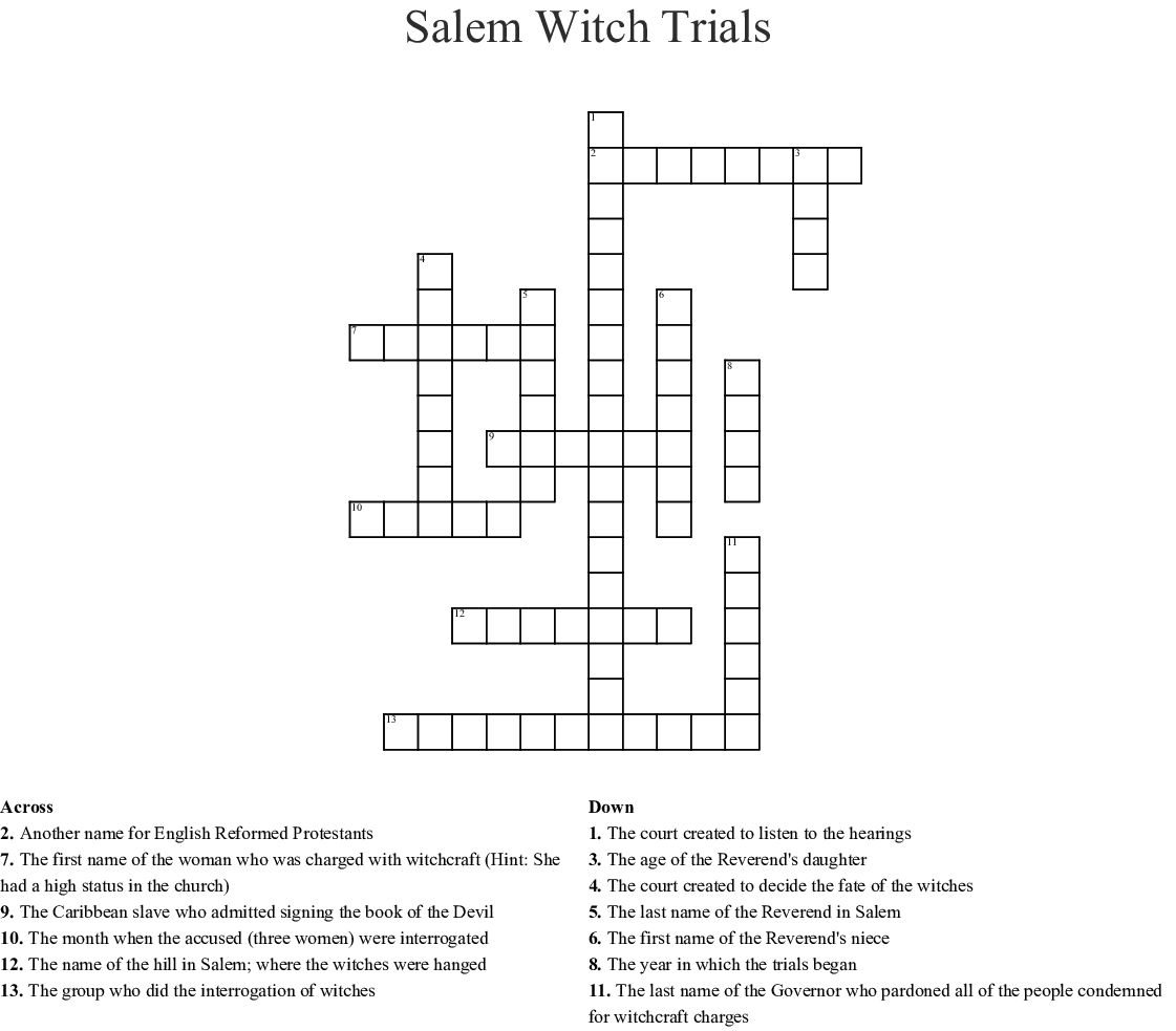 Salem Massachusetts Witch Trials 17th Century Word Search