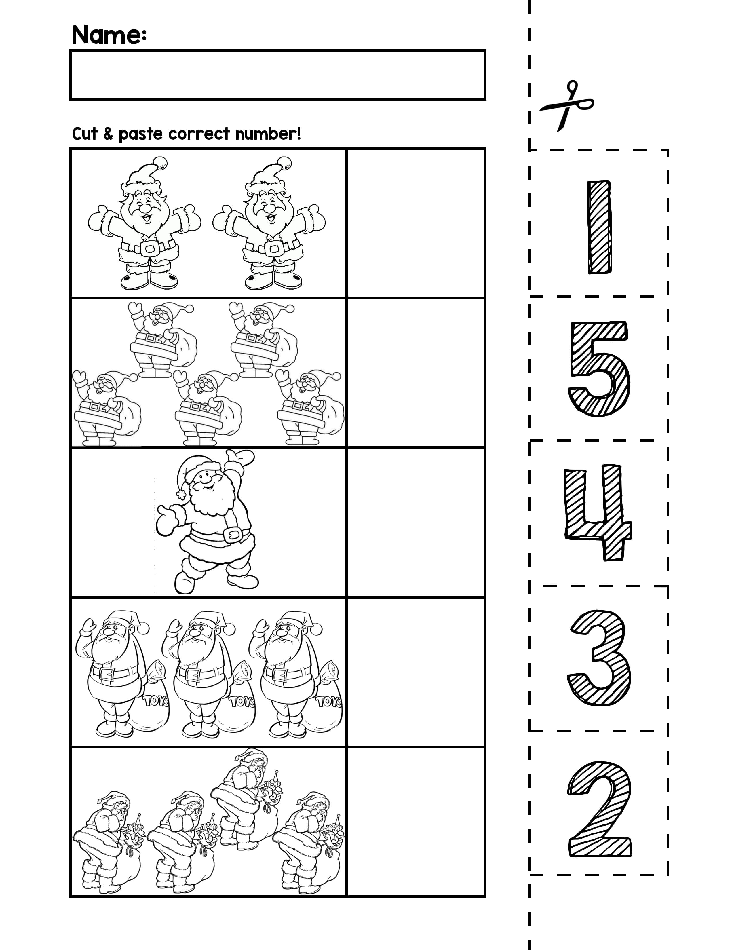 Santa Number Cut Match Worksheets Numbers Autism Printable