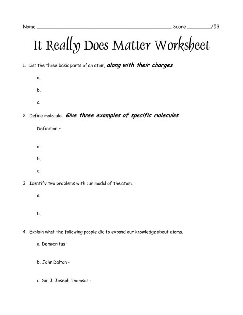 small resolution of Worksheets For States Of Matter   Printable Worksheets and Activities for  Teachers