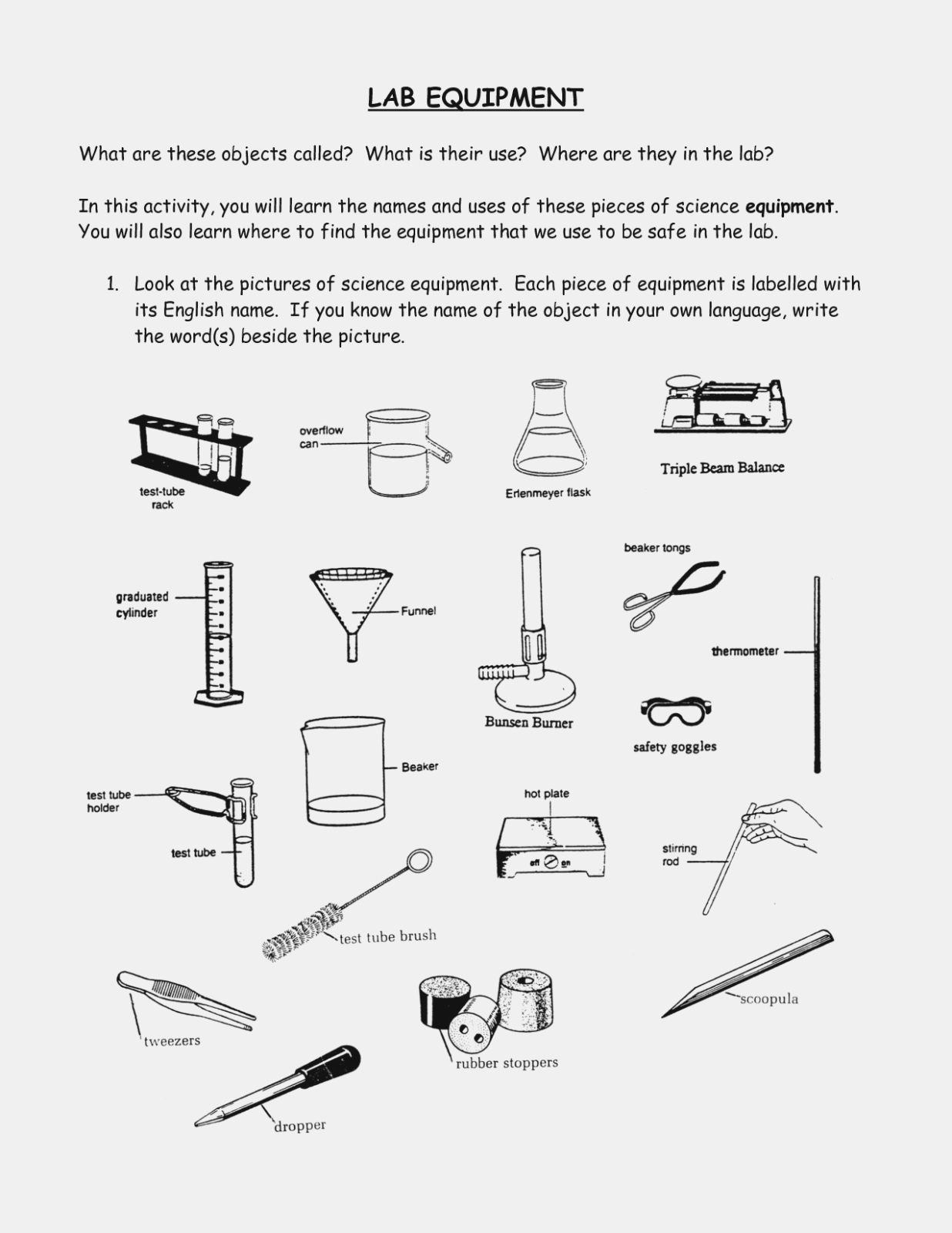 Science Equipment Uses Worksheet Refrence Lab Equipment