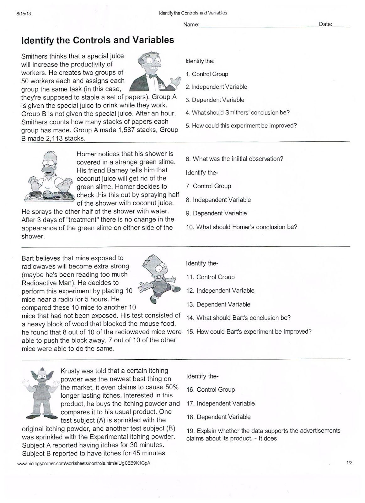 - Variable Worksheets Science Printable Worksheets And Activities