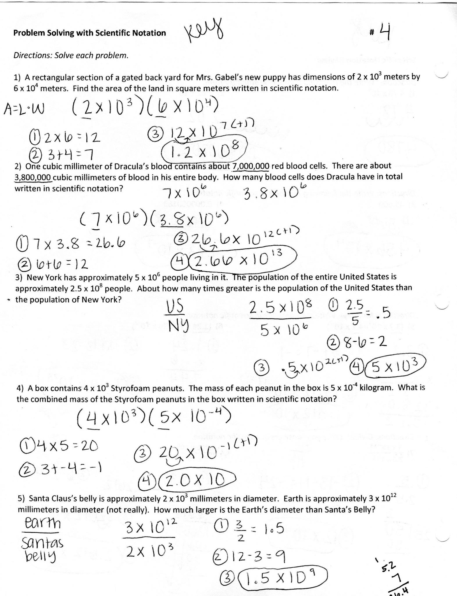 Scientific Notation And Standard Notation Worksheet