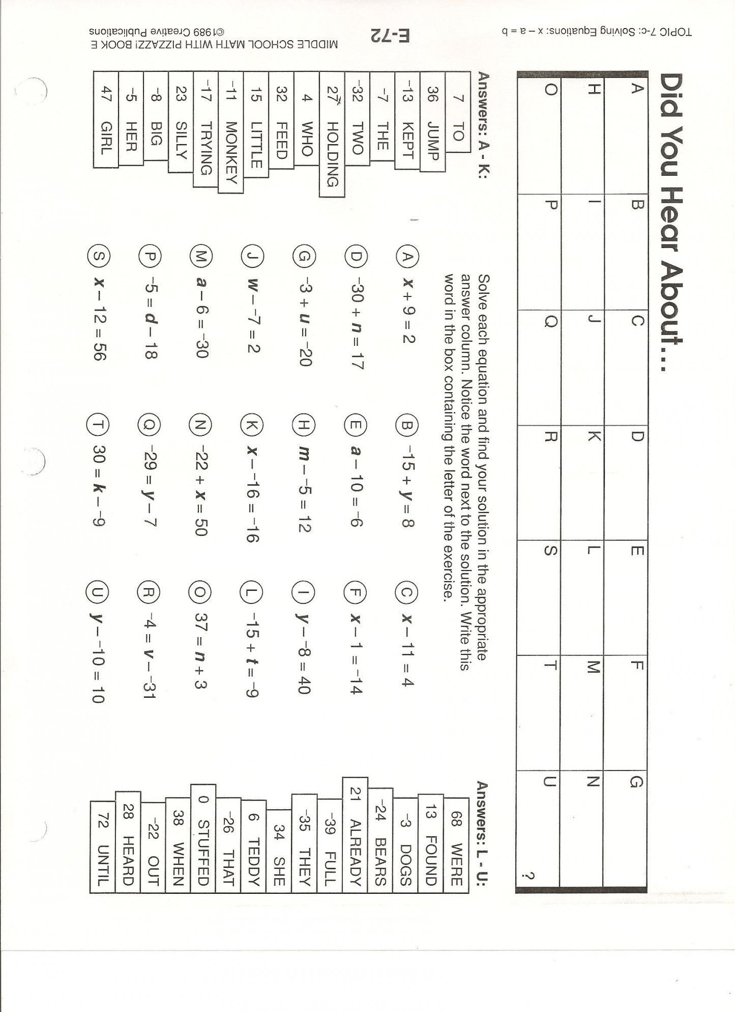 Search Did You Hear About Worksheet Simple Numbers