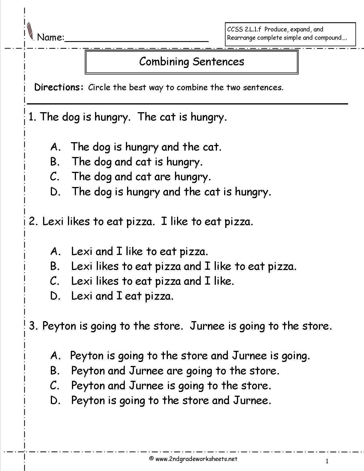 Second Grade Sentences Worksheets Ccss 2l1f Worksheets