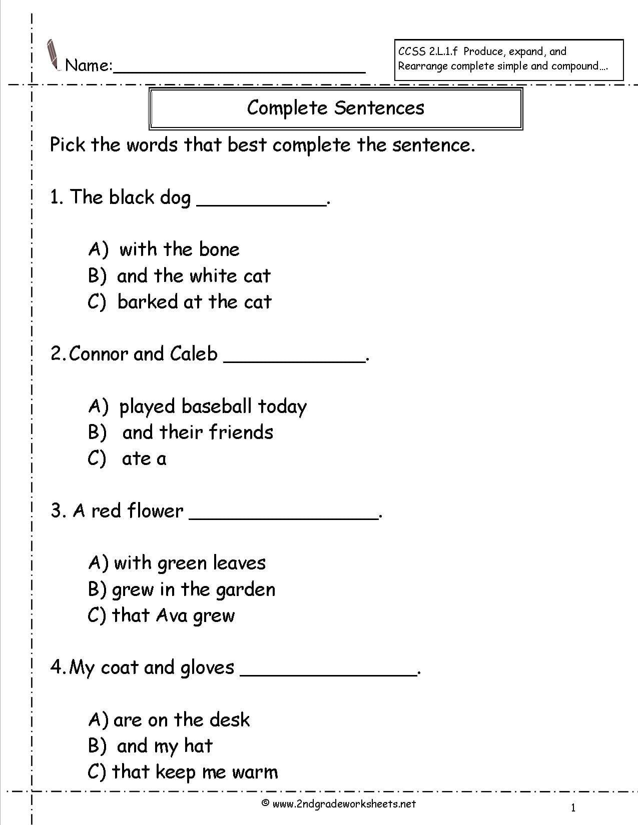 Complete Sentence Worksheets