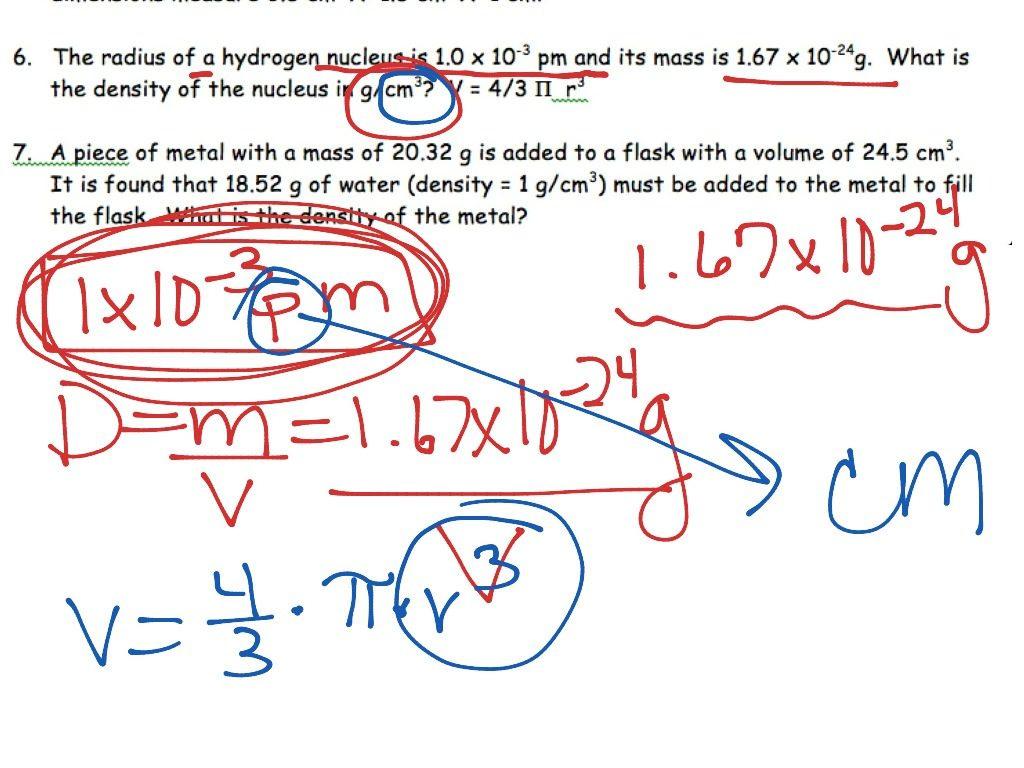 Density Calculations Worksheet