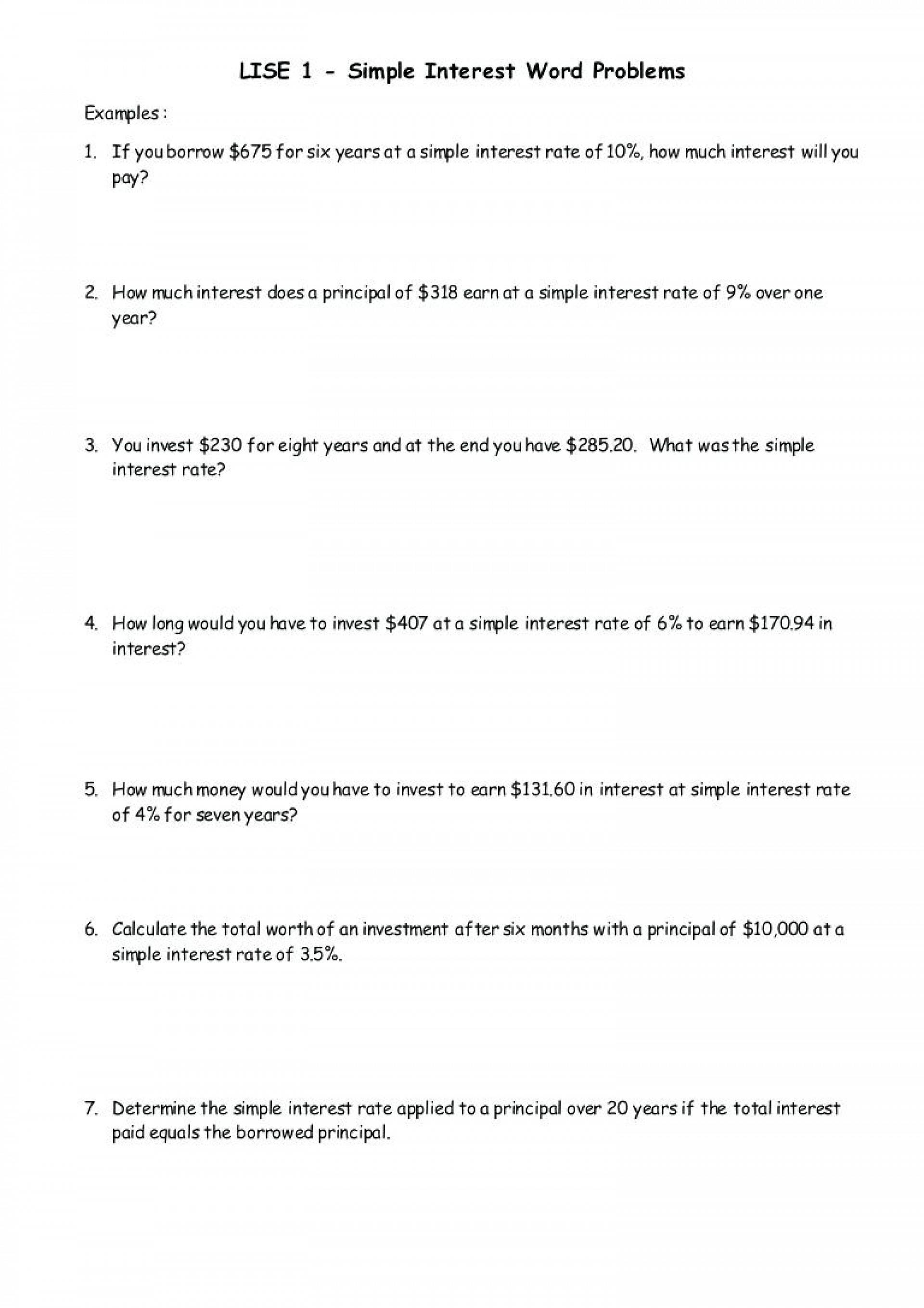 Simple Interest Word Problems Worksheet Db Excel