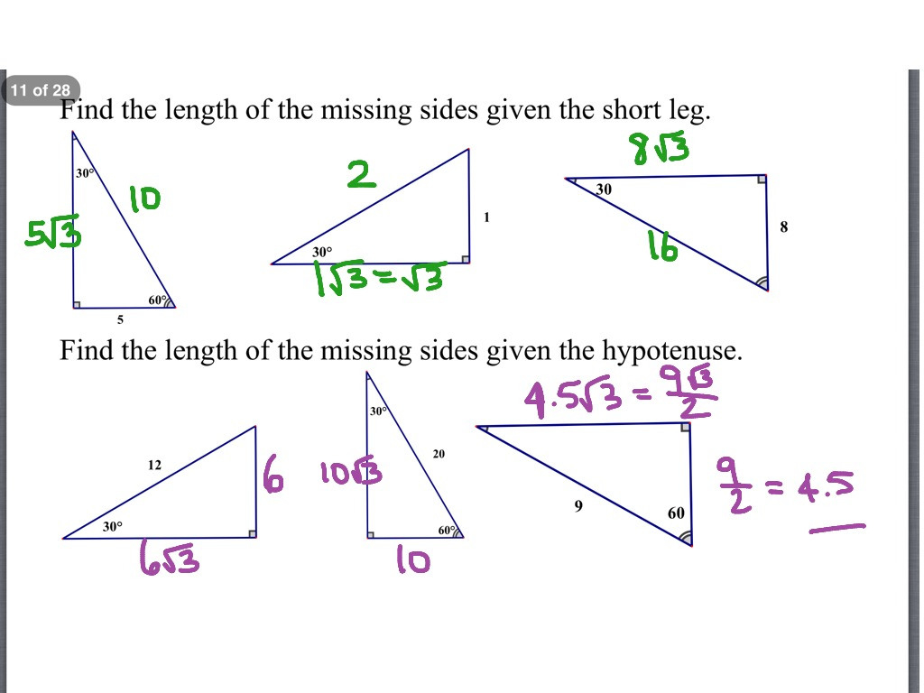Special Right Triangles Worksheet Answers