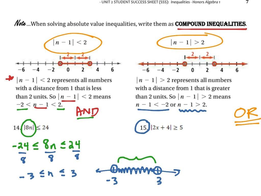 Absolute Value Inequalities Worksheet Answers Algebra 1