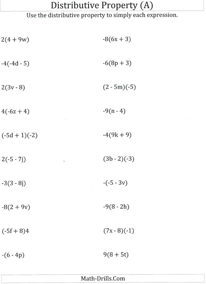 Simple Distributive Property Worksheets