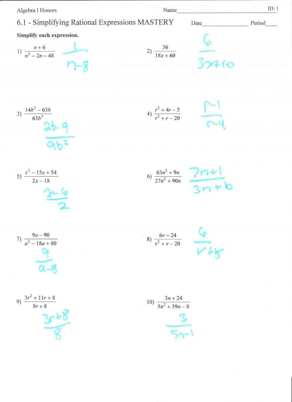 Simplifying Radical Expressions Worksheet Pdf Domain And
