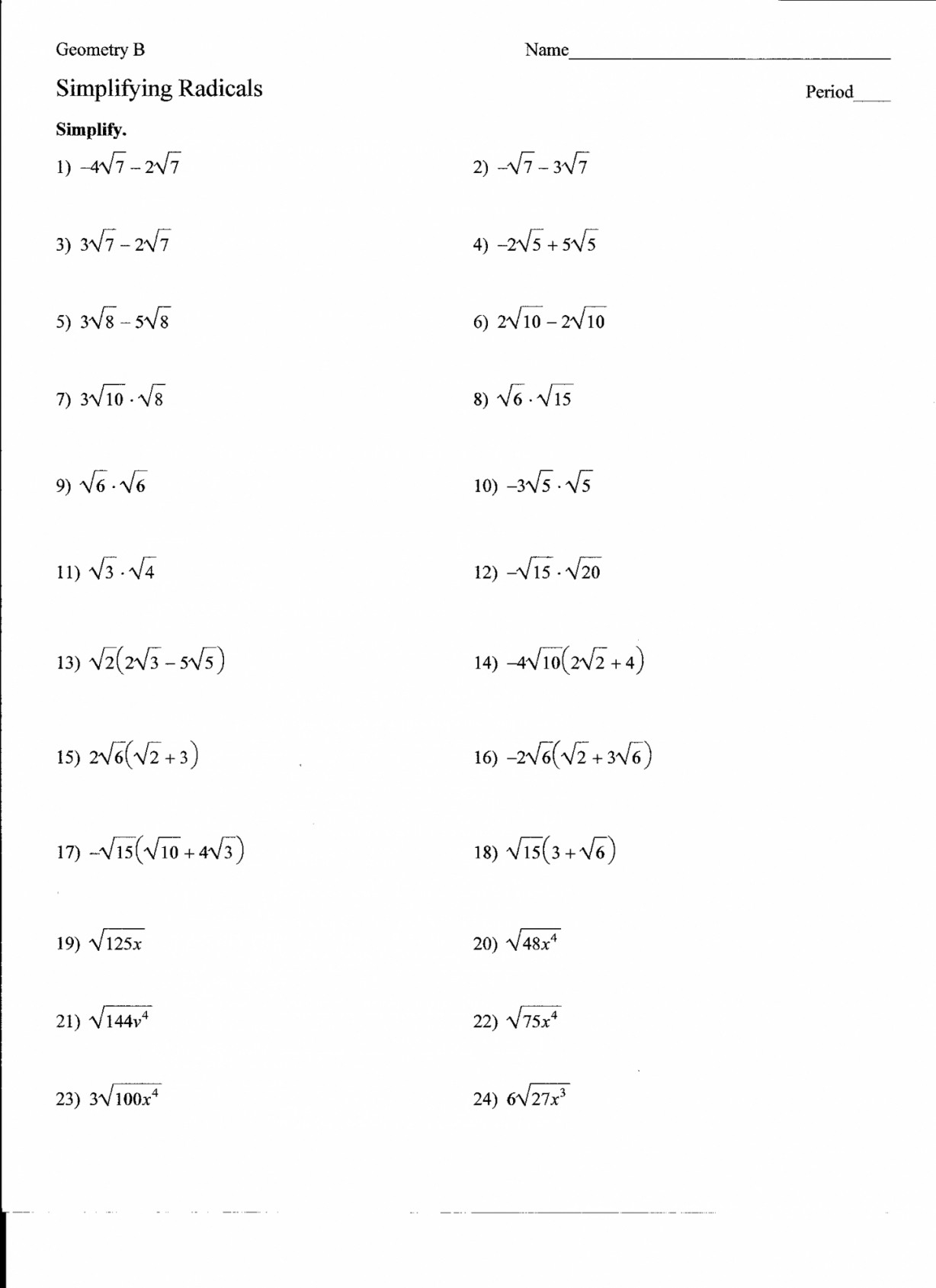 Simplifying Radicals Worksheet 1 New Simplifying Radicals