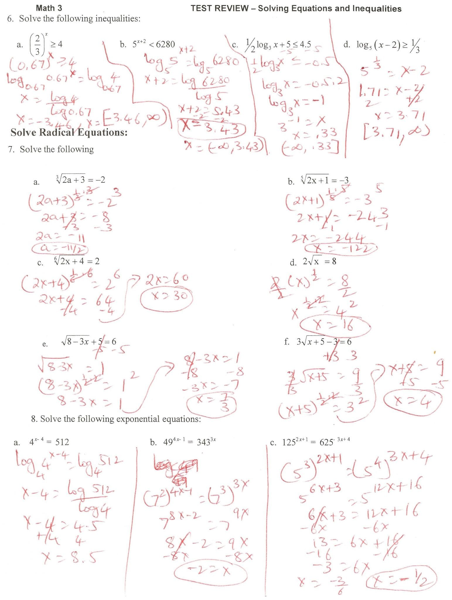 Exponential And Logarithmic Functions Worksheet With