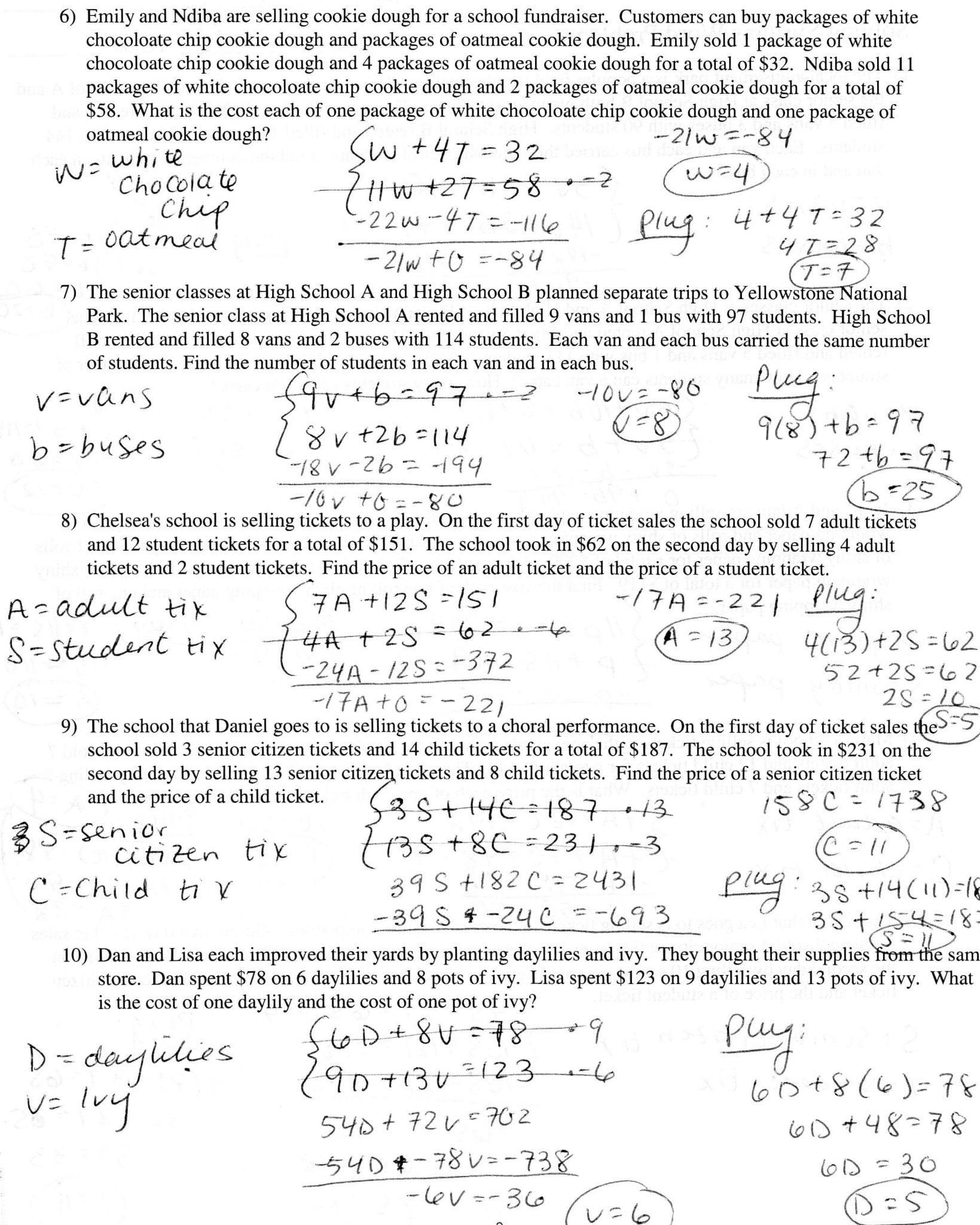 Solving Linear Quadratic Systems Worksheet