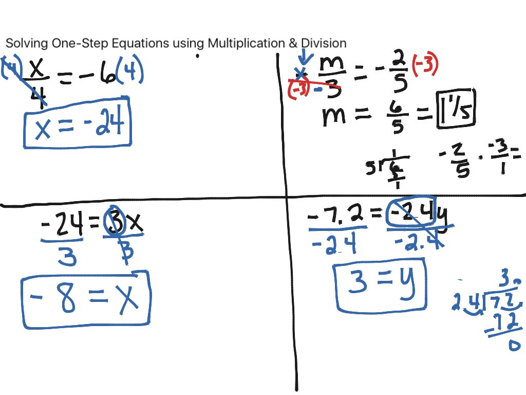 Solving One Step Equations Using Multiplication Division