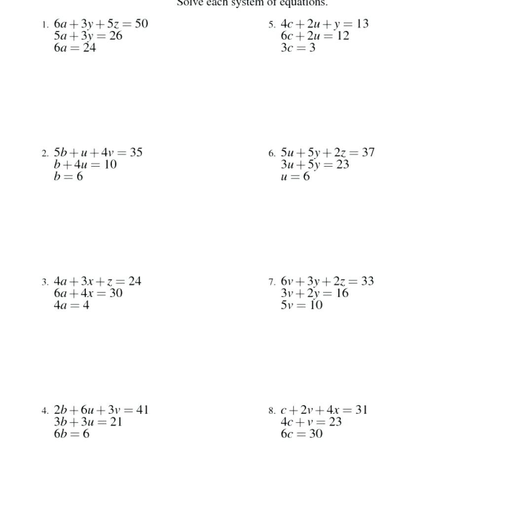 Solving Systems Of Equations Using Any Method Worksheet
