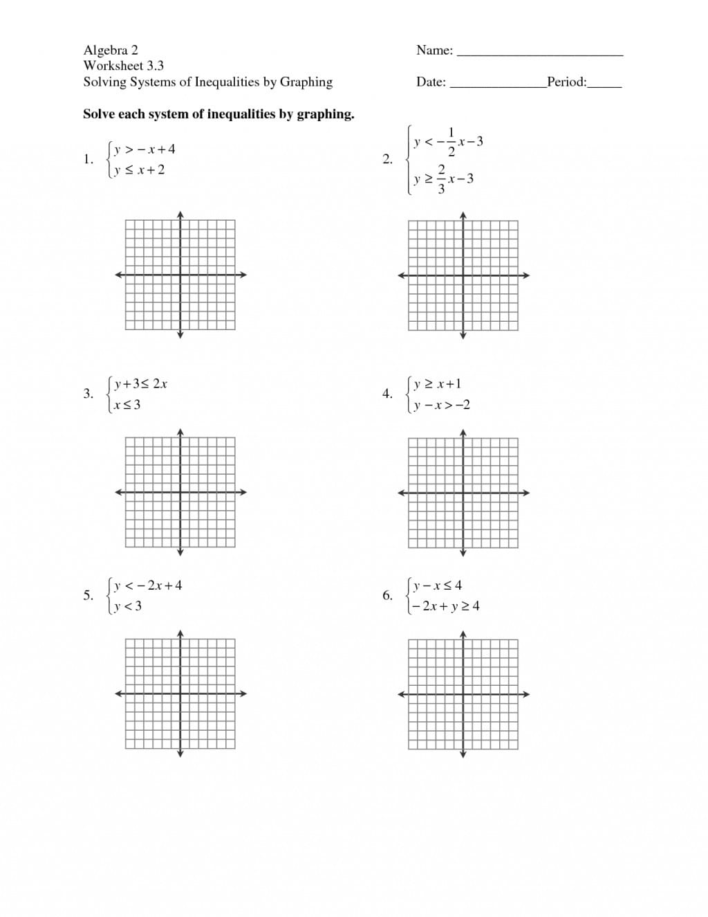 Solving Systems Of Equationsgraphing Worksheet Algebra 2