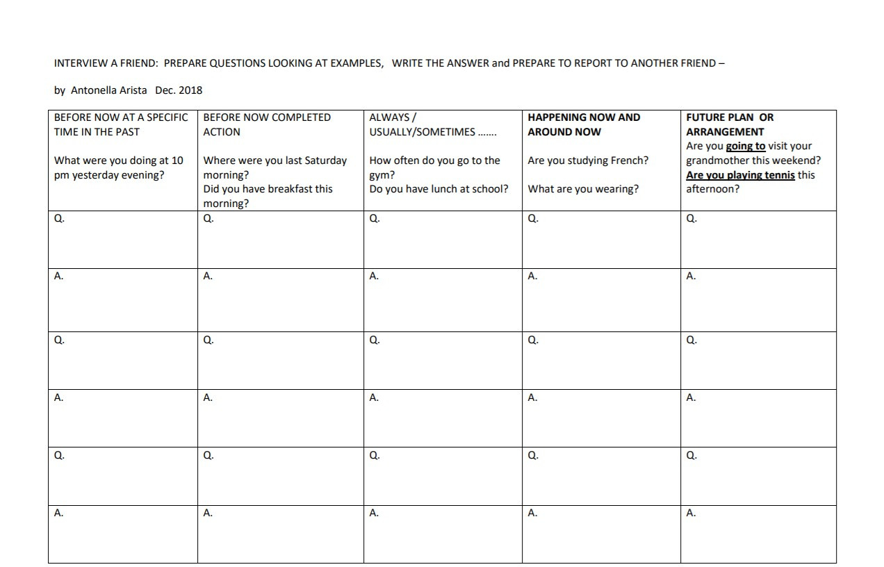 Speaking About Now Before Now After Now Question Worksheet