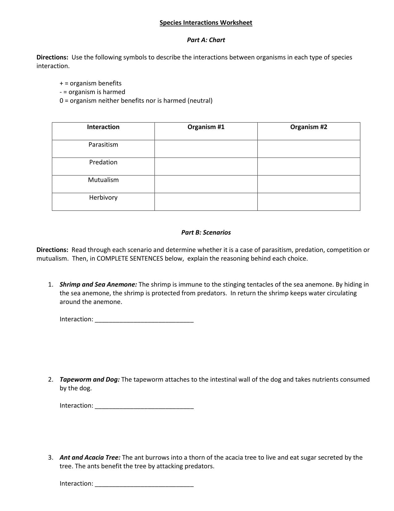 Species Interactions Worksheet Answer Key