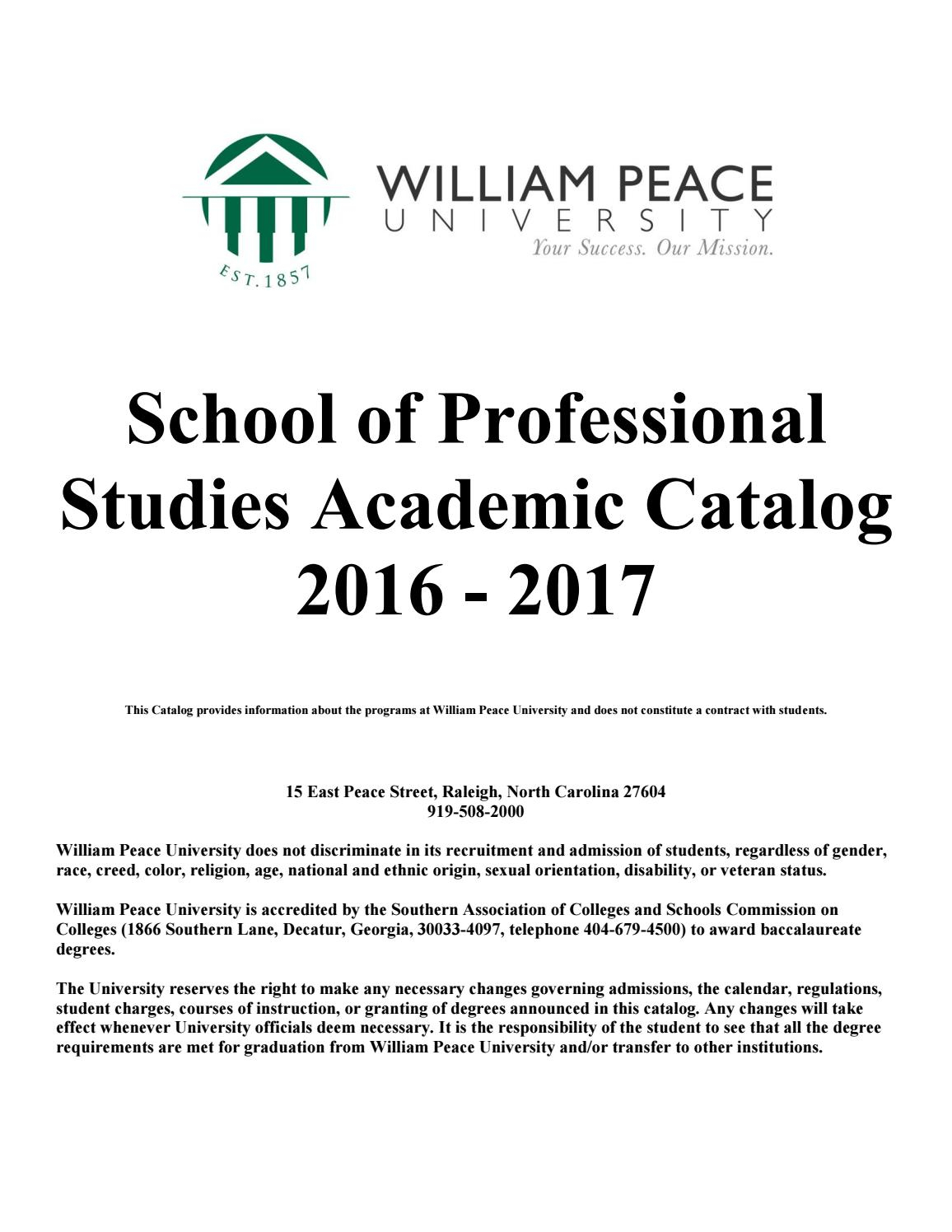 Sps Academic Catalog William Peace University