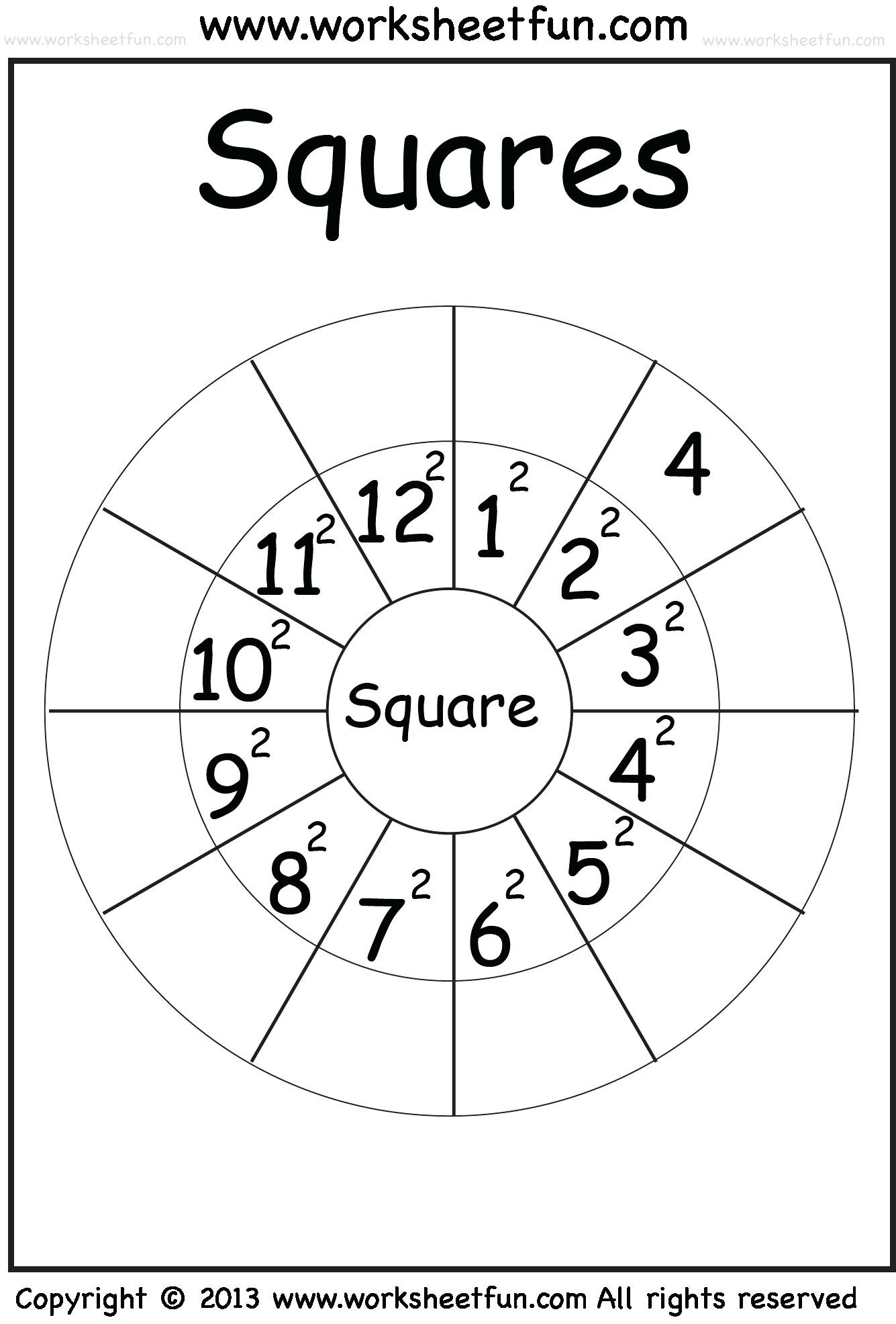 Squares And Square Roots Worksheet Math Perfect Square