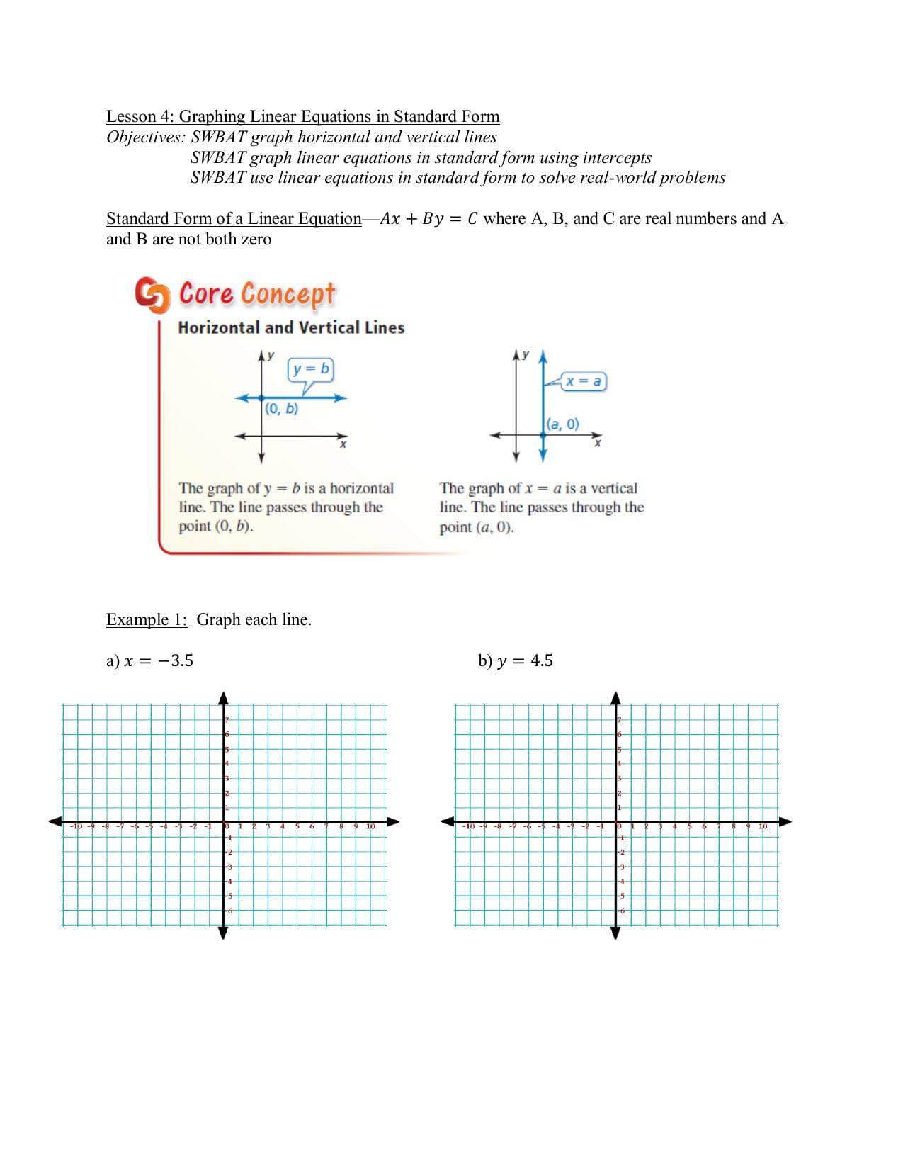 Standard Form Of Linear Equation Worksheet Kuta Softre