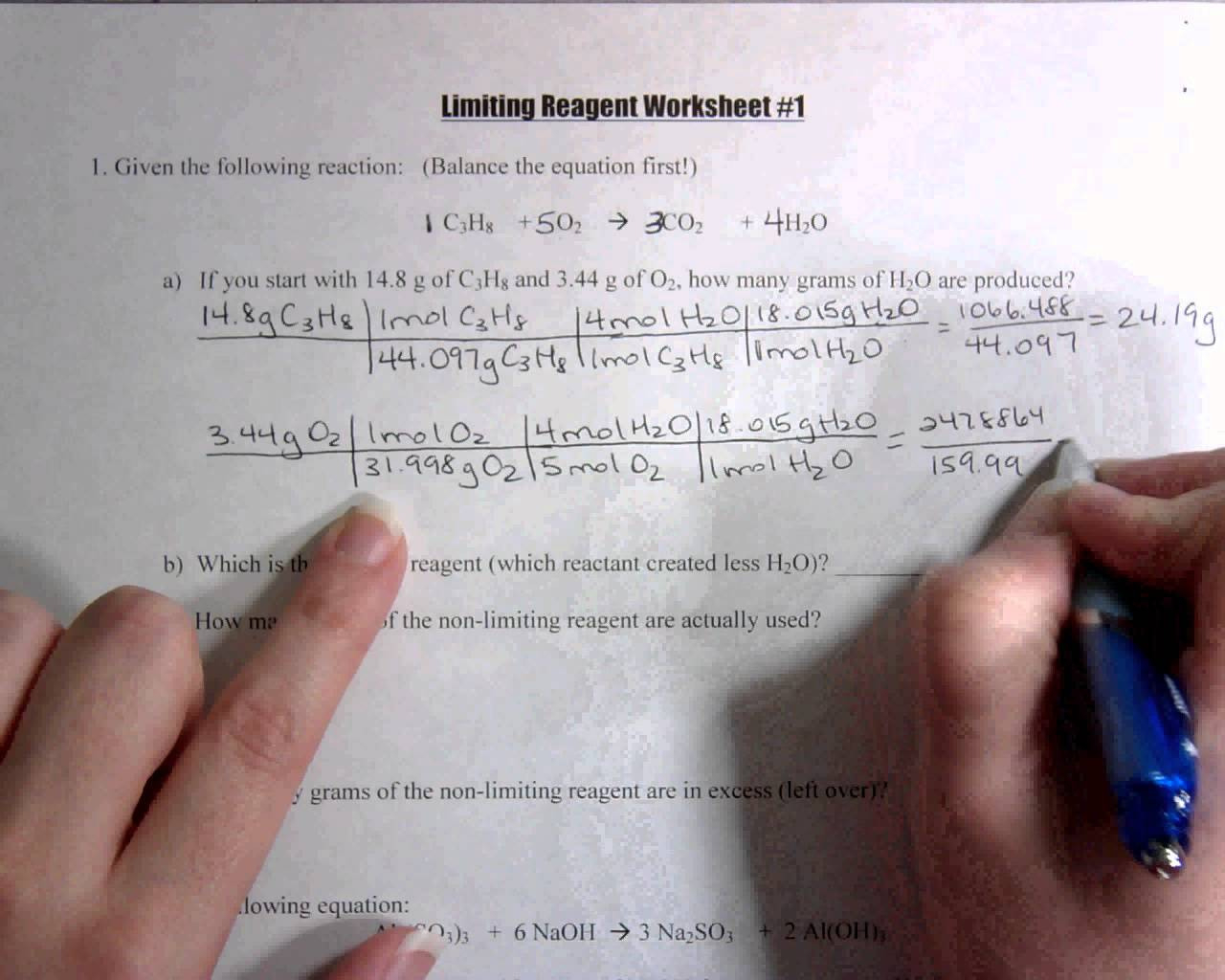 Stoichiometry Limiting Reagent Worksheets Answers