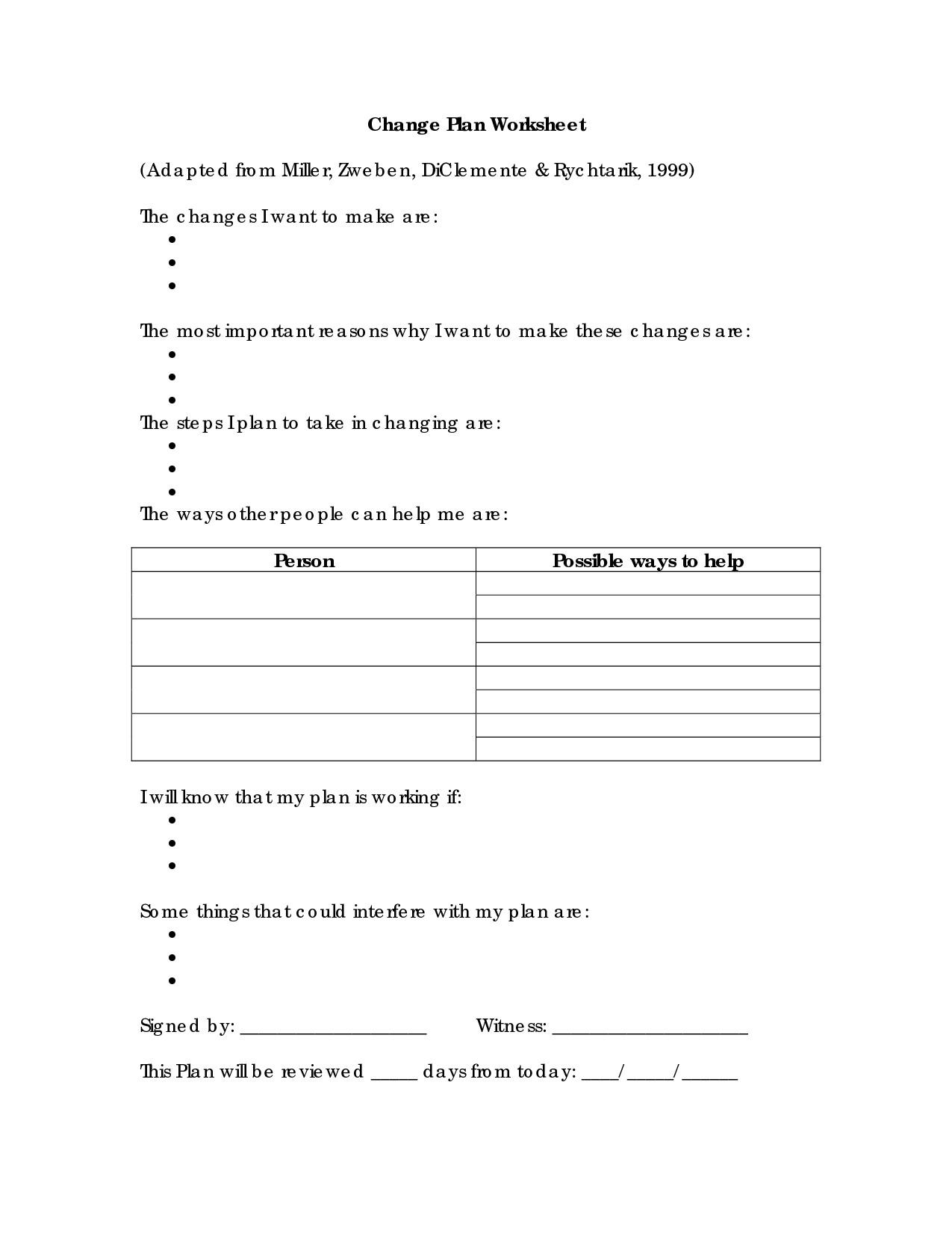 Substance Abuse Group Worksheets