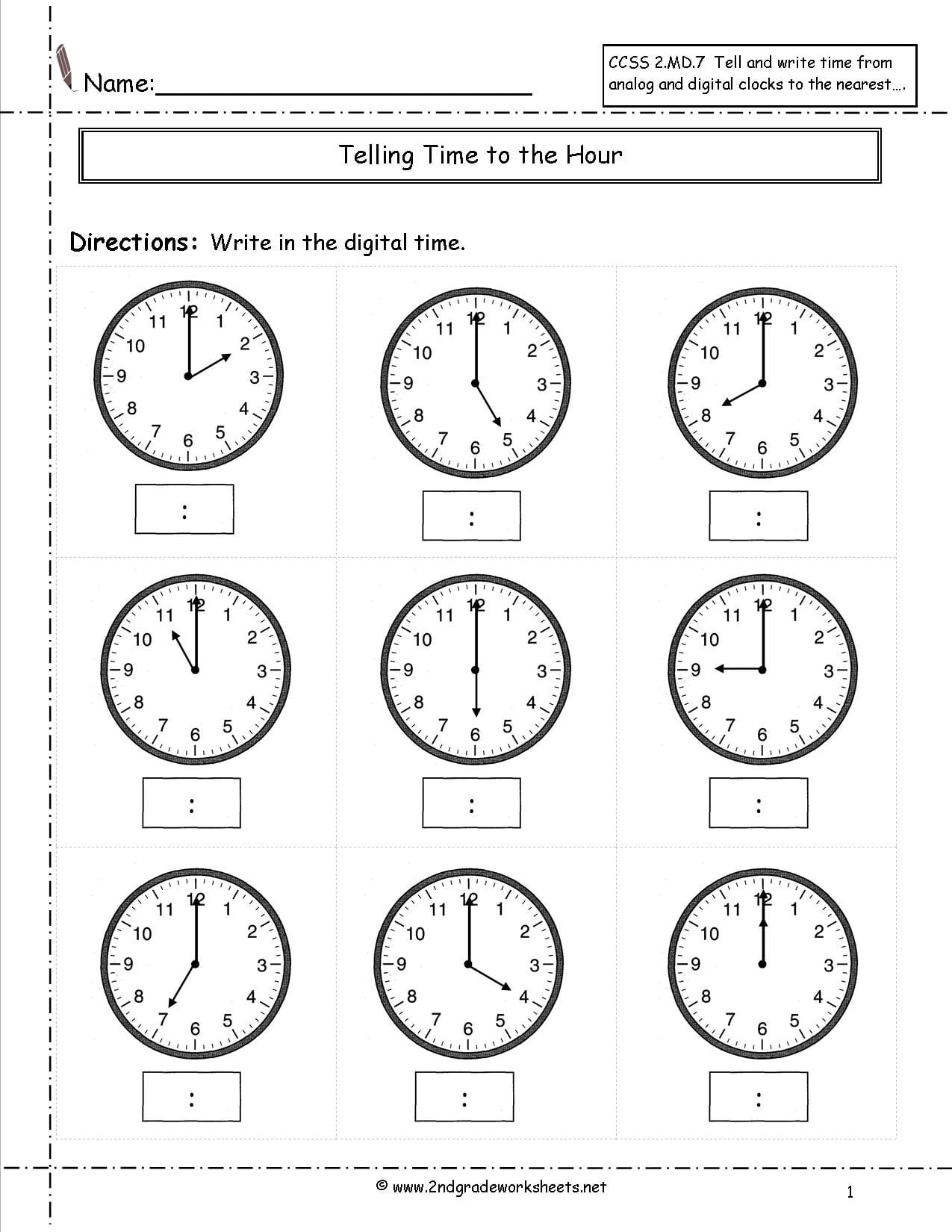 Time To The Hour Worksheets