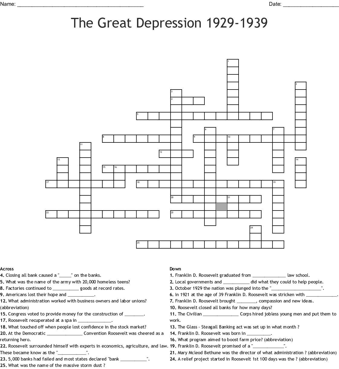The Great Depression Crossword Word