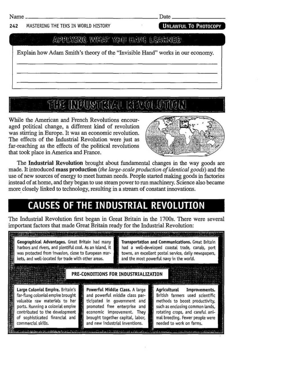 medium resolution of Industrial Revolution Printable Worksheet   Printable Worksheets and  Activities for Teachers