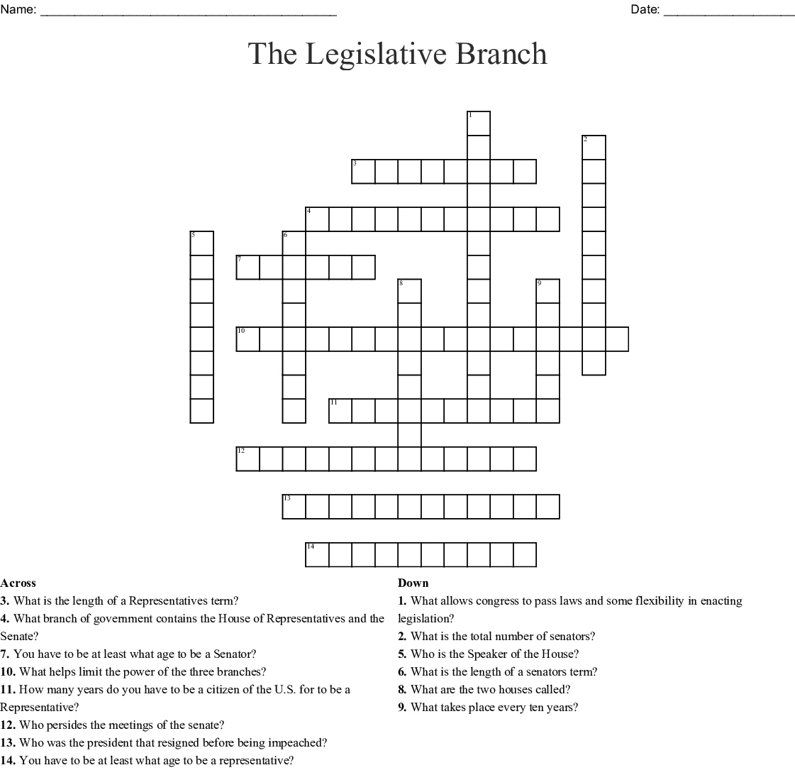 The Legislative Branch Crossword Word