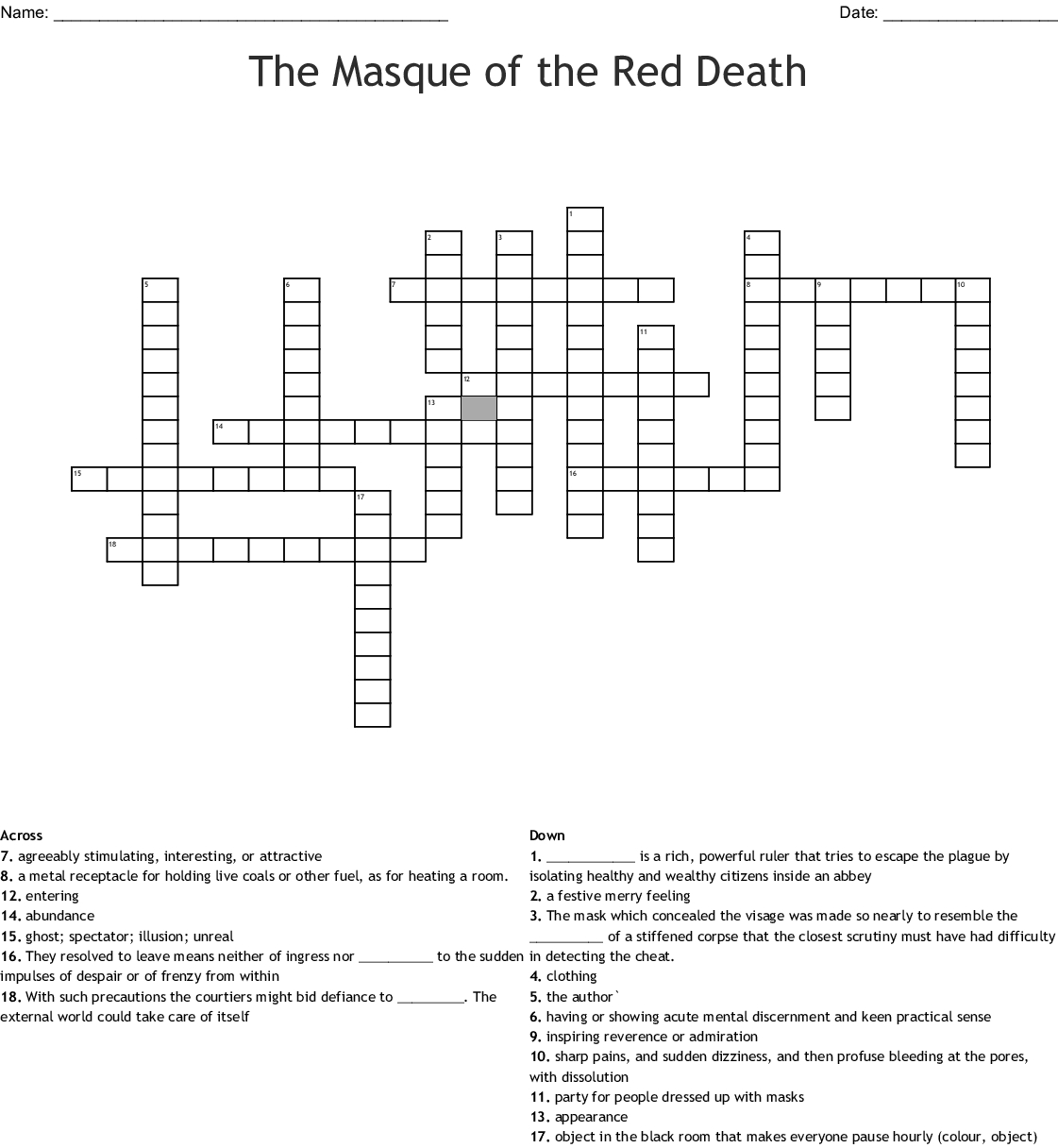 Masque Of The Red Symbolism Worksheet Answers