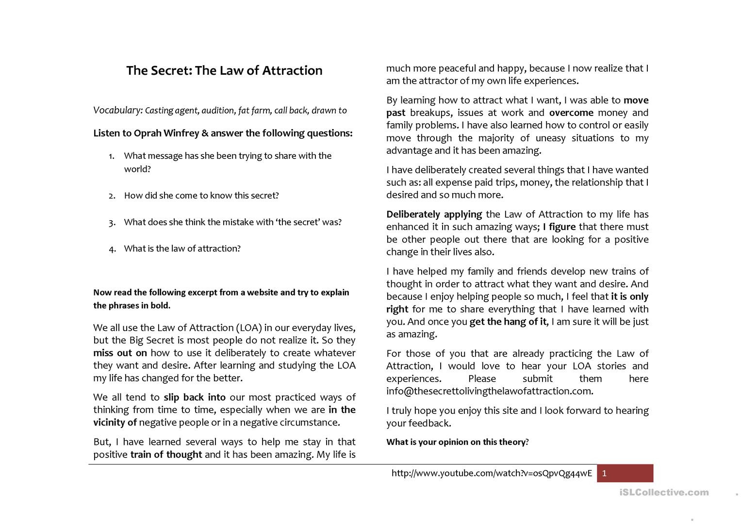 The Secret Law Of Attraction English Esl Worksheets