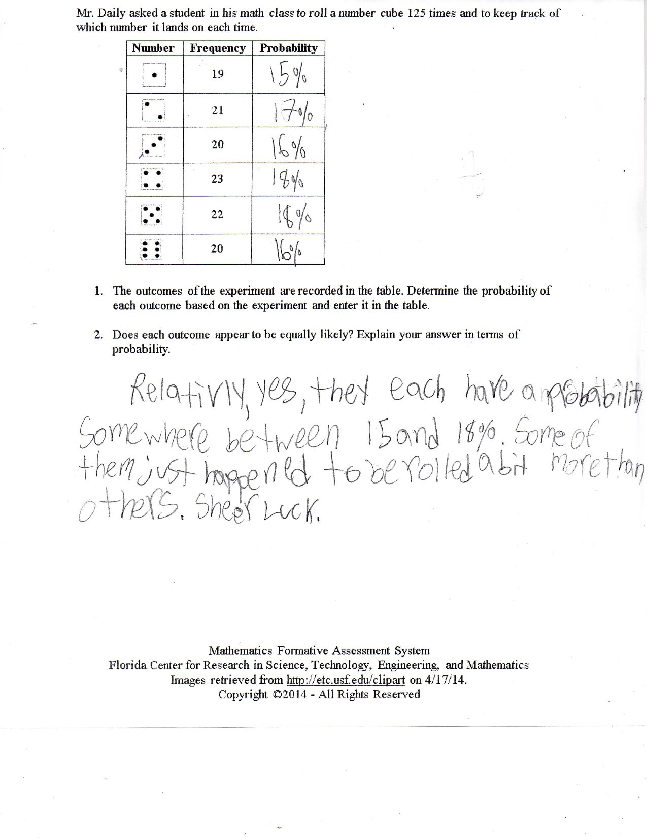Theoretical And Experimental Probability Worksheet 7th