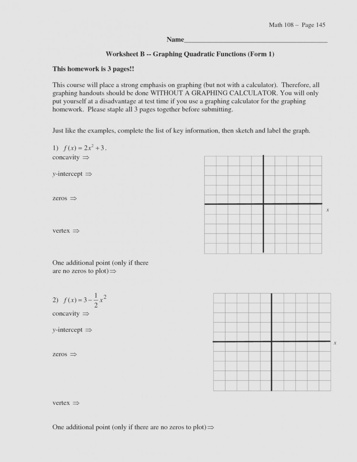 Graphing Quadratics Worksheet With Answers