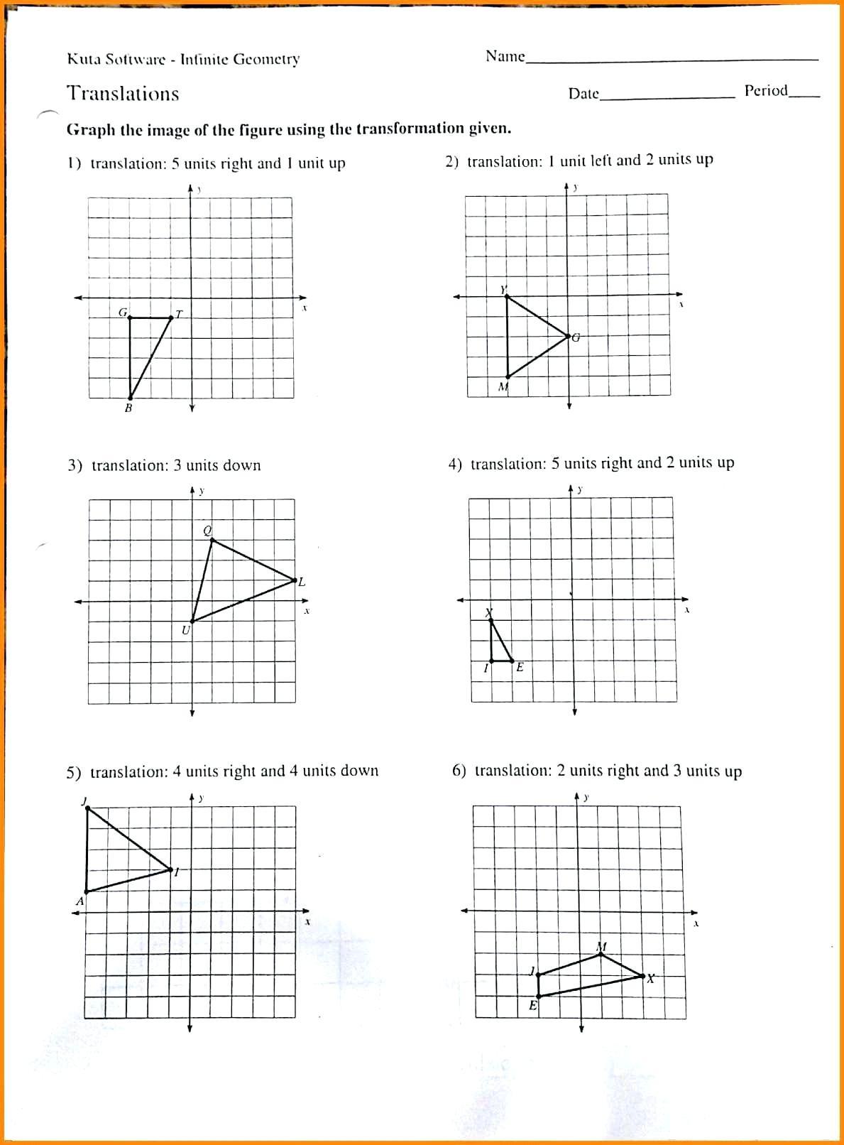 Translations And Reflections Worksheet Math Rotations