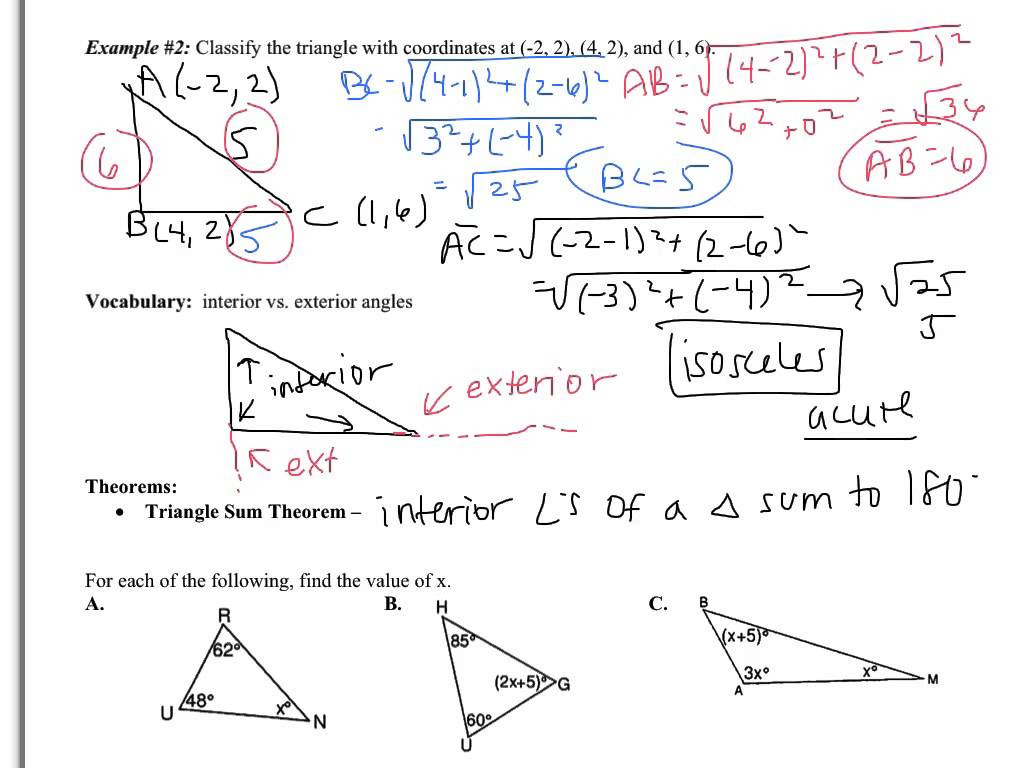 Triangle Sum And Exterior Angle Theorem Worksheet Grammar