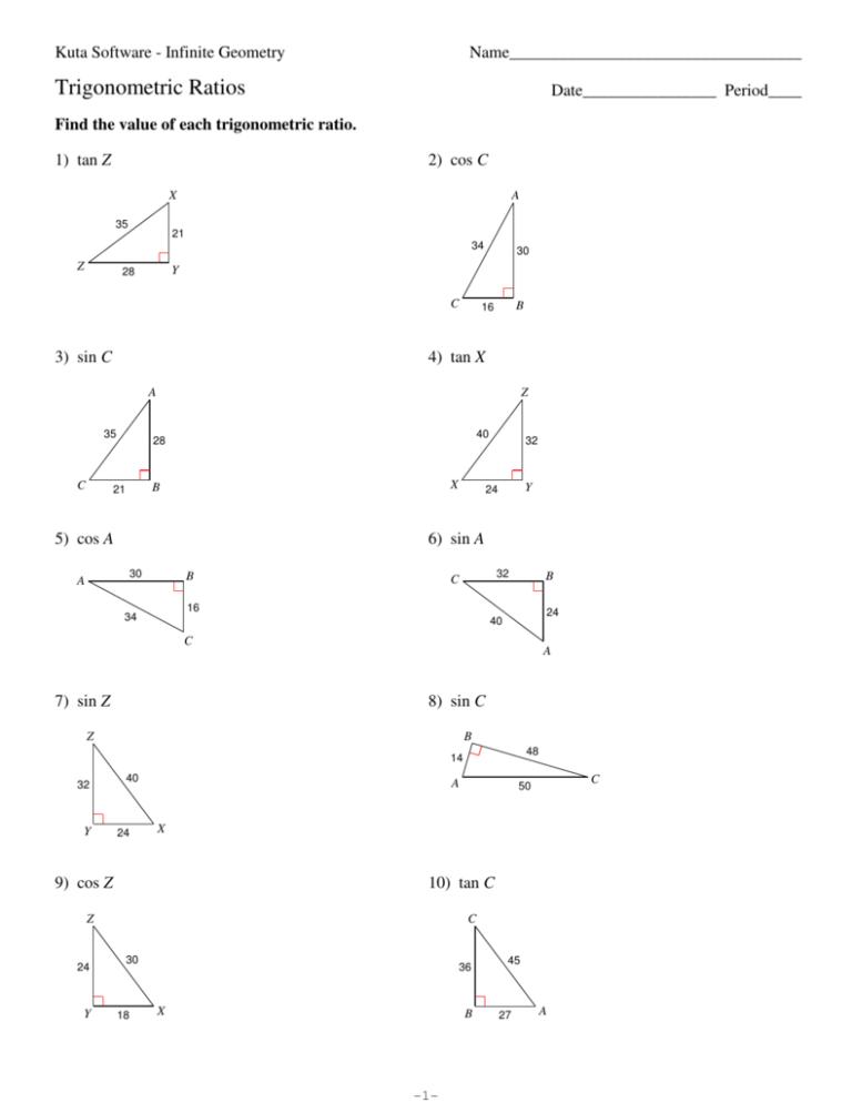 Worksheet Trigonometric Ratios Sohcahtoa Answer Key — db