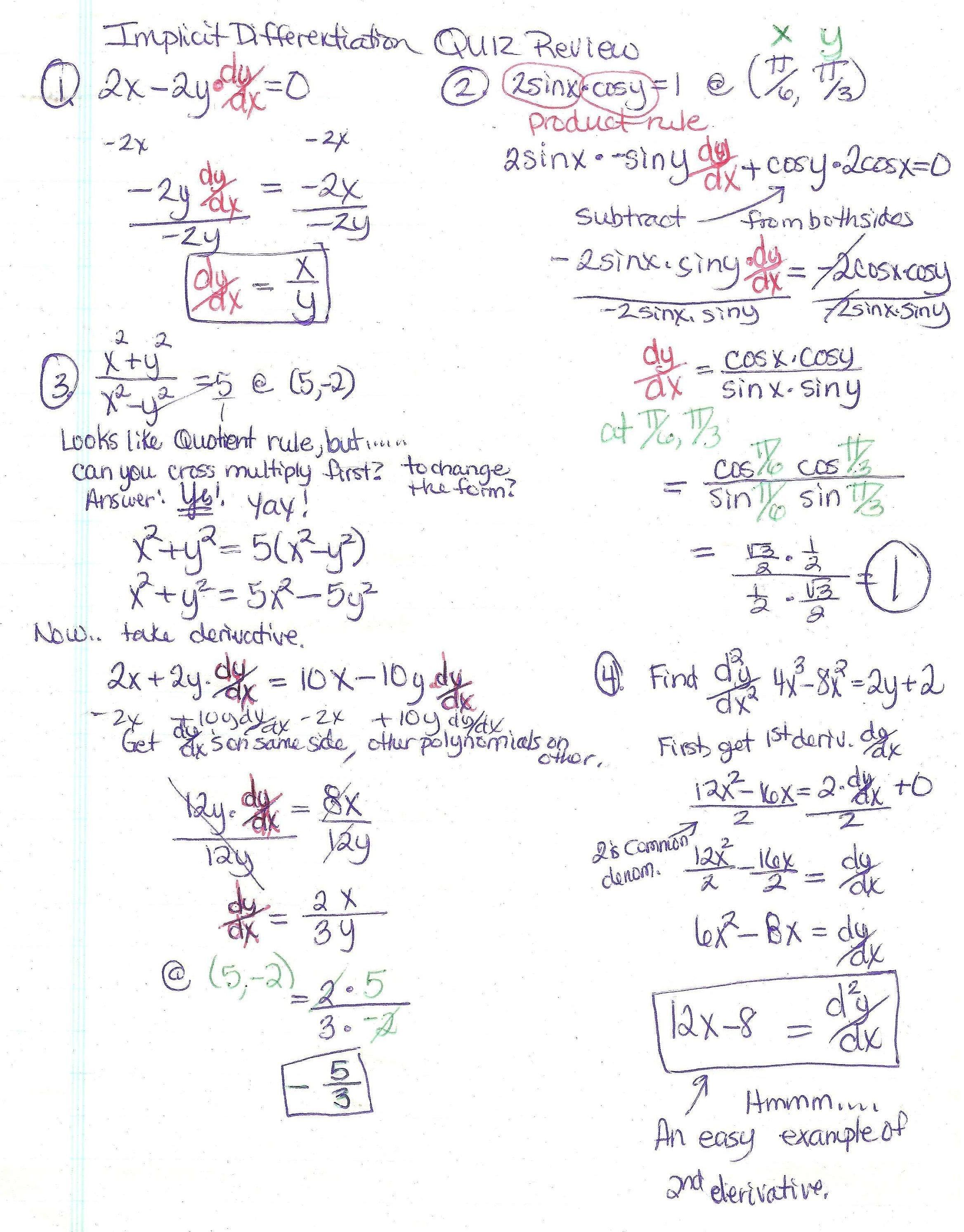 Trigonometry Worksheet Circular Functions Answers