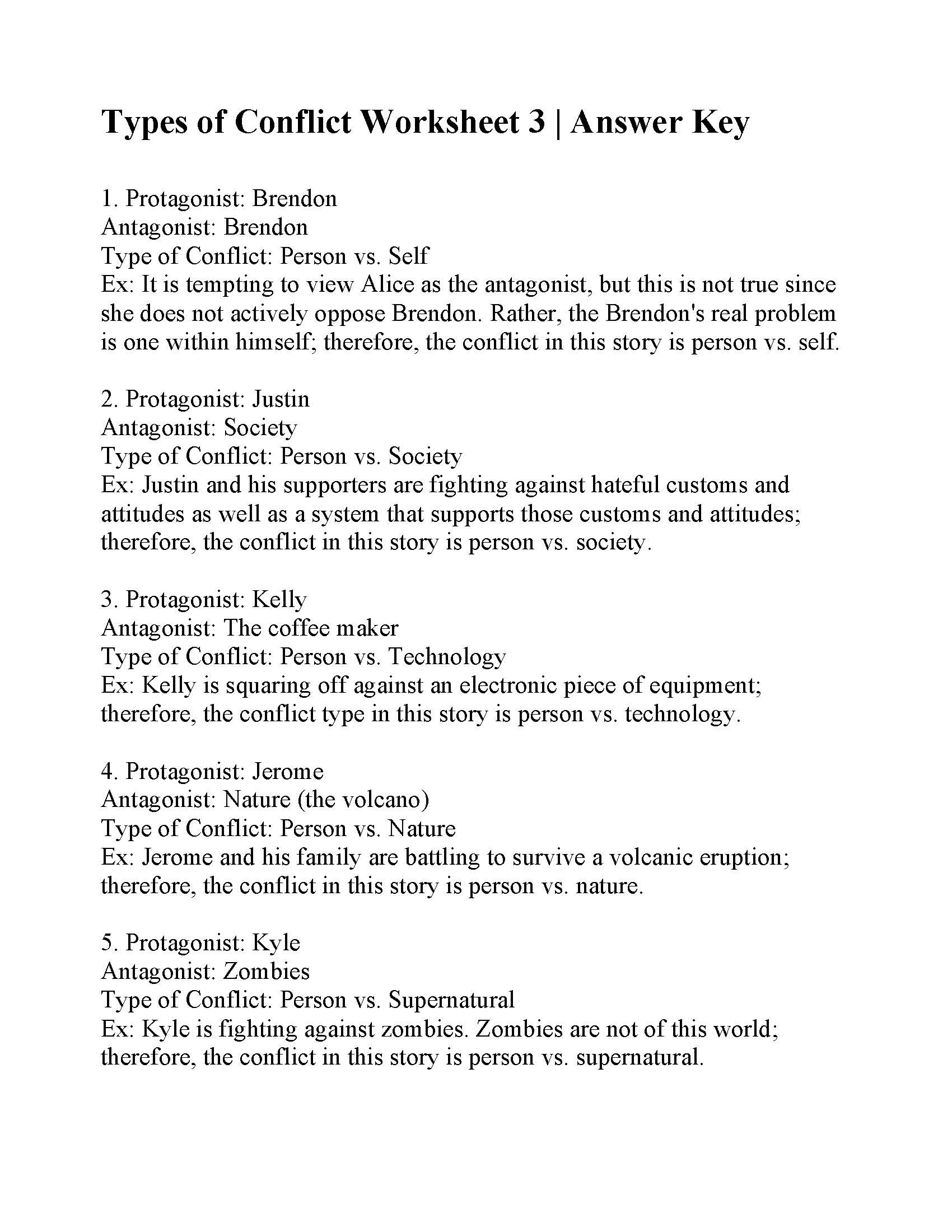 Types Of Conflict Worksheet 3 Answers
