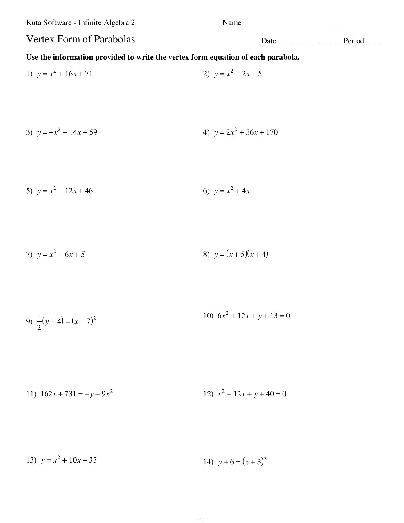Vertex Form Of Parabolas Worksheet Kuta Softre Llc Pages