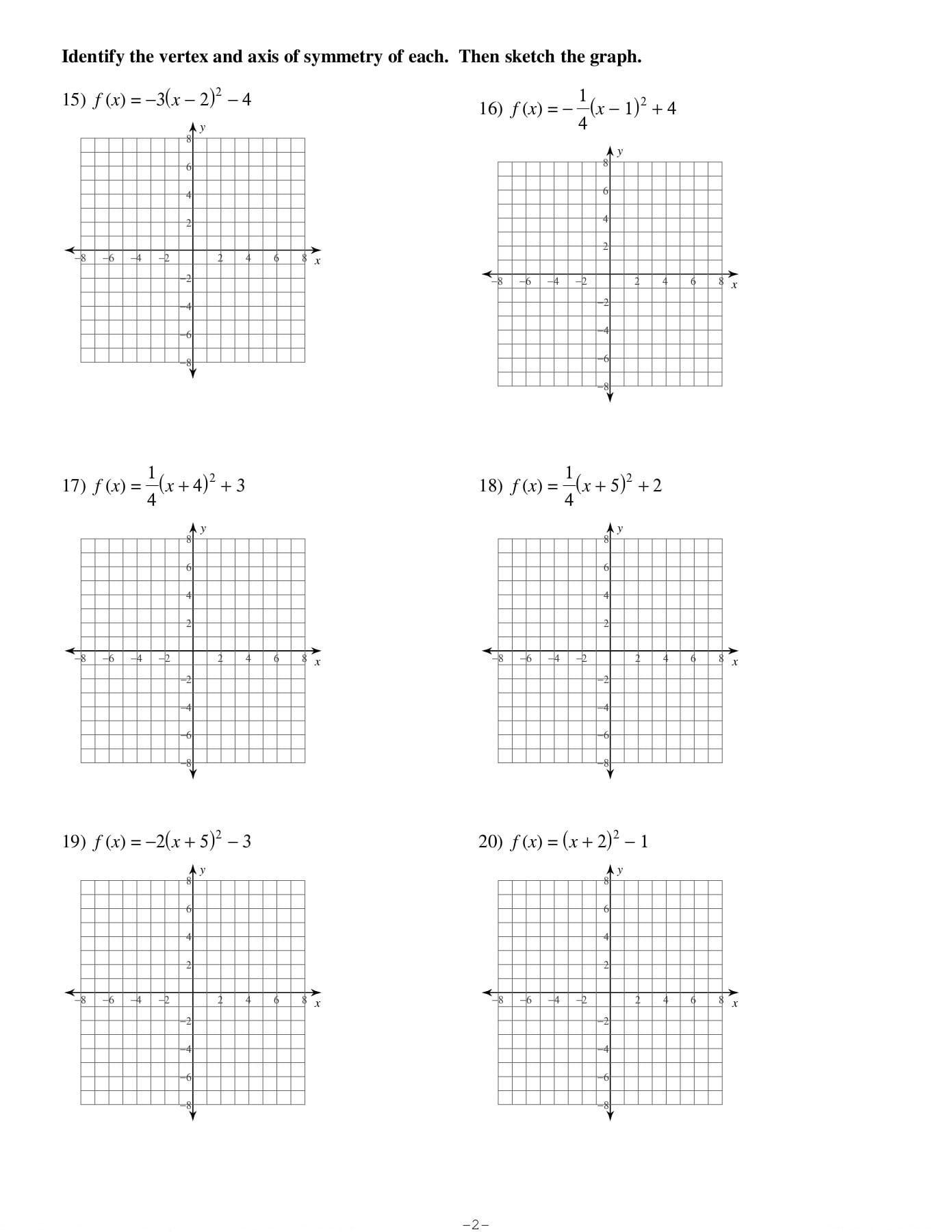 Graphing Parabolas In Vertex Form Worksheet