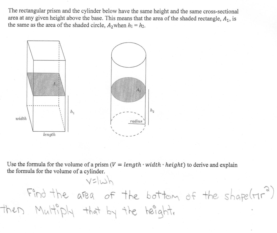 Volume Of A Cylinder Students Are Asked To Derive And
