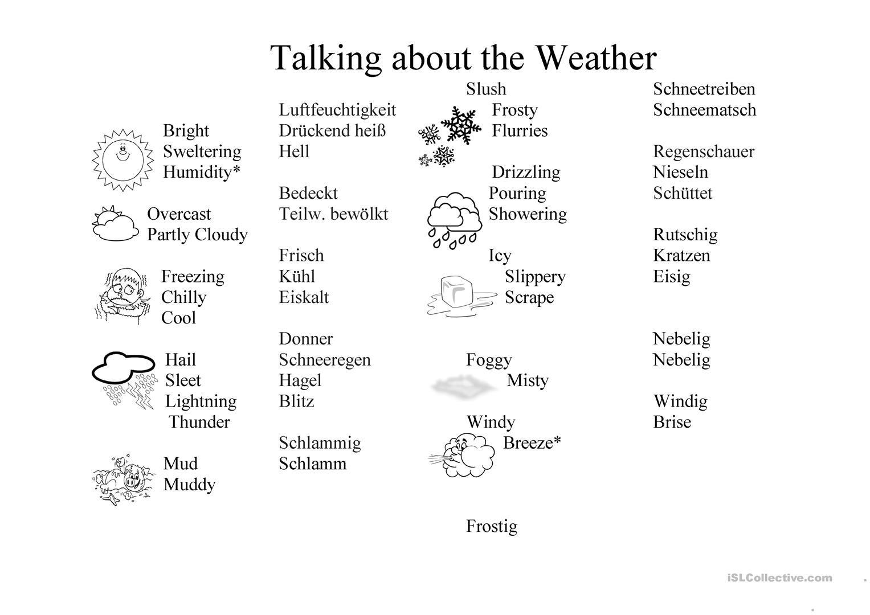 Weather Worksheet German English English Esl Worksheets