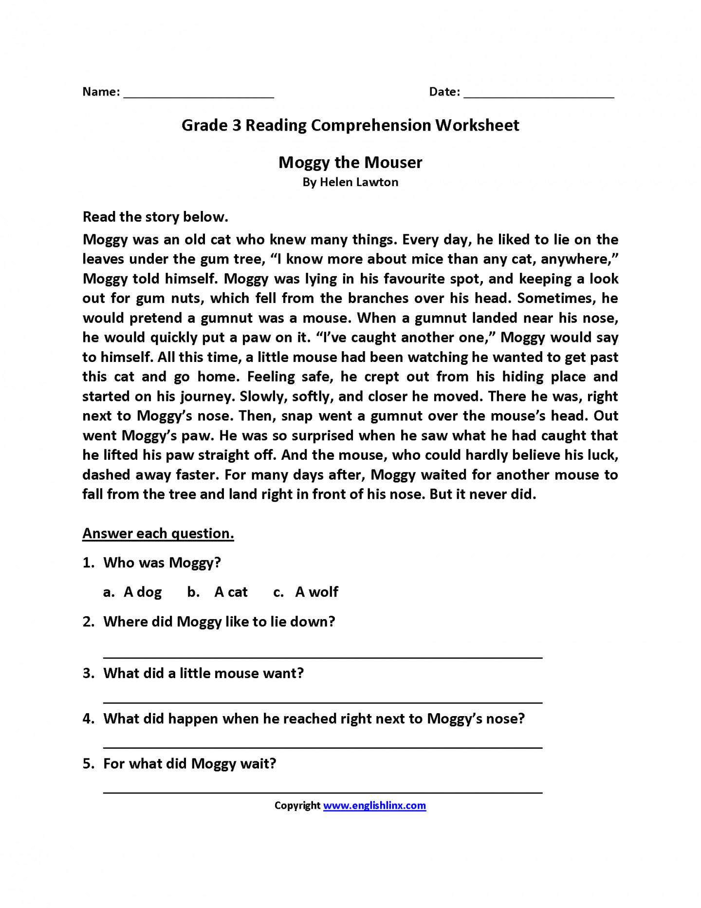hight resolution of Dworksheet 3rd Grade Reading Comprehension Printable   Printable Worksheets  and Activities for Teachers