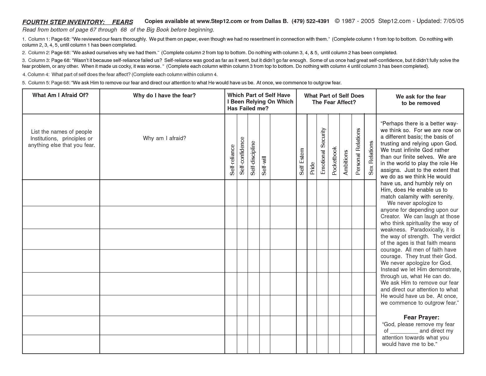 Worksheet Aa Step 4 Worksheet Printable Step Worksheets Th