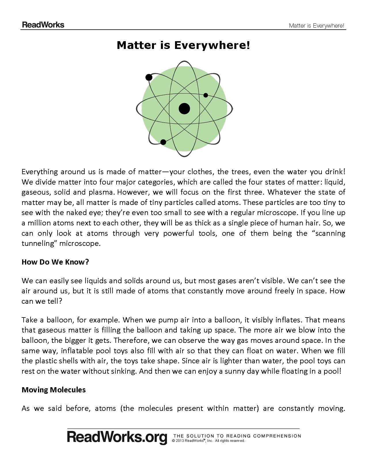 Free Science Reading Comprehension Worksheets