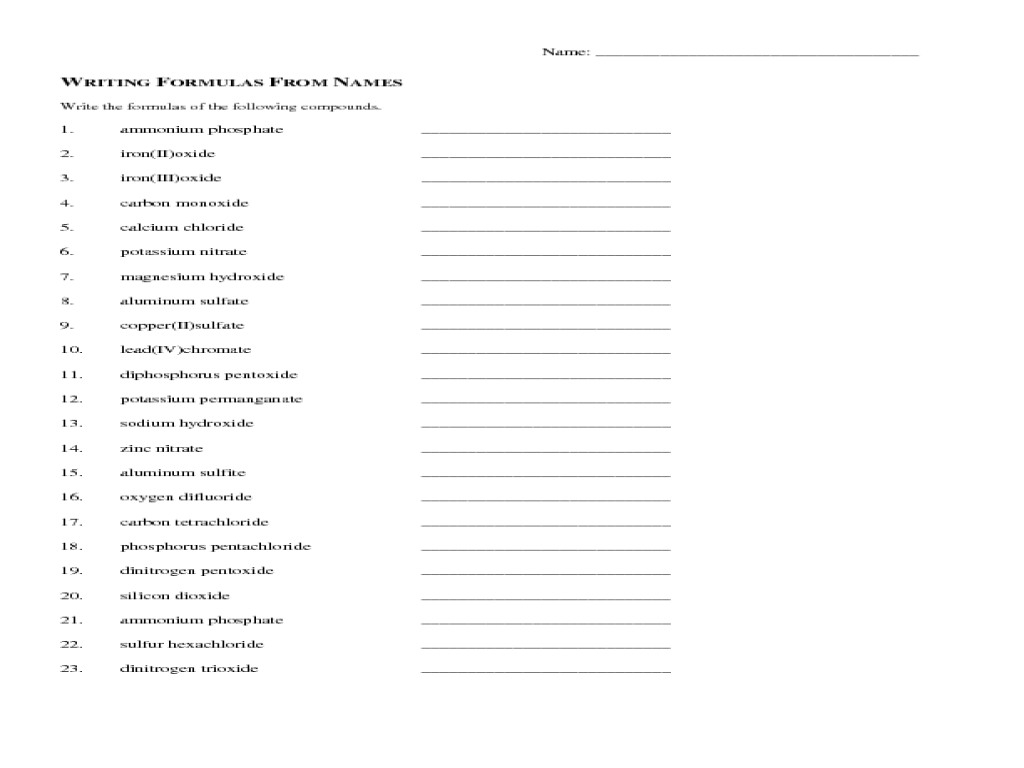 Worksheet Chemical Formula Writing Worksheet Ionic